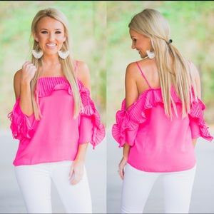 Flying Tomato off the shoulder ruffle top